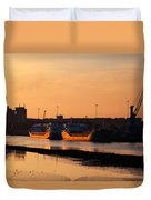 Ships Moored At The New Docking Duvet Cover