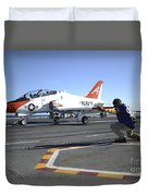 Shooter Signals To The Pilot Of A T-45c Duvet Cover