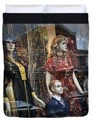 Shop Window Display Of Mannequins Duvet Cover