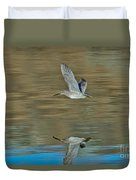 Short-billed Dowitcher And Reflection Duvet Cover