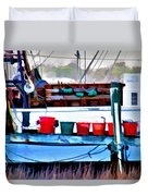 Shrimp Boat Buckets Duvet Cover