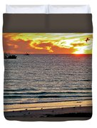 Shrimp Boats And Gulls Over Sea Of Cortez At Sunset From Playa Bonita Beach-mexico Duvet Cover