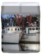 Shrimp Boats Reflecting Duvet Cover