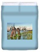 Shrimp Dock Pilings Duvet Cover