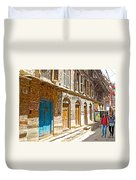 Shutters And Doors Along The Street In Bhaktapur-city Of Devotees-nepal  Duvet Cover