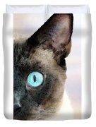 Siamese Cat Art - Half The Story Duvet Cover