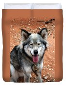 Siberian Husky With Blue And Brown Eyes Duvet Cover
