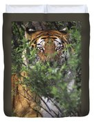 Siberian Tiger In Hiding Wildlife Rescue Duvet Cover
