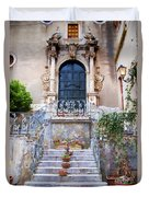 Sicilian Village Steps And Door Duvet Cover by David Smith