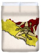 Sicily Map Art With Flag Design Duvet Cover