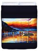 Sicily Messina Duvet Cover by Leonid Afremov