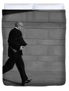 Side Profile Of A Businessman Running Duvet Cover