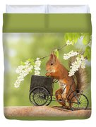 Side View Of Red Squirrel Playing Duvet Cover