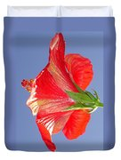 Side View Of Scarlet Red Hibiscus In Bright Light Duvet Cover
