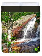 Side View Of Southeast Brook Falls In Gros Morne Np-nl Duvet Cover