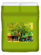 Sidewalk Cafe Rue St Denis Dappled Sunlight Shade Trees Joys Of Montreal City Scene  Carole Spandau Duvet Cover