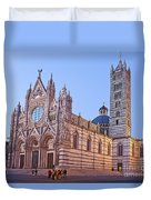 Siena Duomo At Sunset Duvet Cover by Liz Leyden