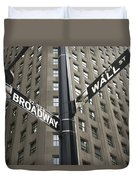 Signs For Broadway And Wall Street Duvet Cover