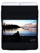 Silhouette At Sunrise Duvet Cover