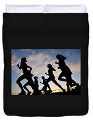 Silhouette Female Runners Duvet Cover