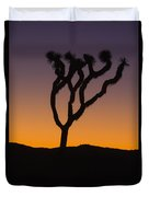 Silhouette Of A Joshua Tree At Sunset Duvet Cover