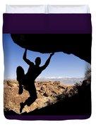 Silhouette Of A Rock Climber Duvet Cover