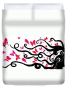 Silhouette Of A Woman With Pink Butterflies Duvet Cover
