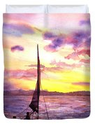 Silhouette Of Boat And Sailors On Torch Lake Michigan Usa Duvet Cover