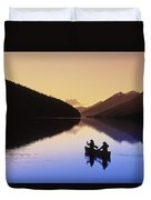 Silhouette Of Canoeists, Bowron Lake Duvet Cover