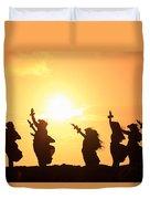 Silhouette Of Hula Dancers At Sunrise Duvet Cover