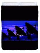 Silhouette Of Satellite Dishes Duvet Cover