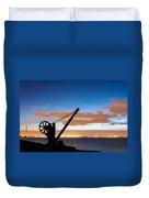 Silhouette Of The Davit In Dublin Port Duvet Cover