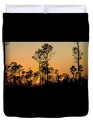 Silhouette Of Trees At Sunset Duvet Cover
