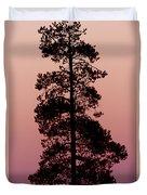 Silhouette Tree At Sunrise Duvet Cover