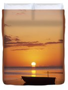 Silhouetted Boat Duvet Cover