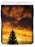 Silhouetted Evergreen Tree Duvet Cover