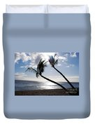 Silhouetted Palm Trees On Maui Beach Duvet Cover