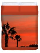 Silhouetted Palm Trees Duvet Cover