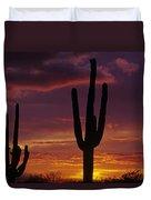 Silhouetted Saguaro Cactus Sunset  Arizona State Usa Duvet Cover