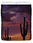 Silhouetted Saguaro Cactus Sunset  Duvet Cover