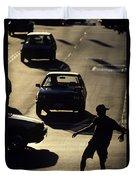 Silhouetted Skateboarder Duvet Cover