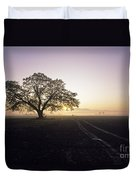 Silhouetted Tree In Field Sunrise Duvet Cover