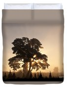 Silhouetted Tree With Sun Rays Duvet Cover