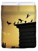 Silhouettes Of The Cormorants Duvet Cover