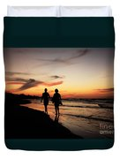 Silhouettes On Varadero Beach Duvet Cover