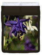 Silky Blue Columbine And A Busy Bee Duvet Cover