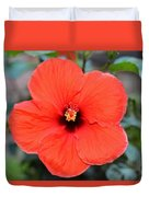 Silky Red Hibiscus Flower Duvet Cover