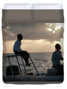 Sillouetted Man Steers Flats Boat Duvet Cover