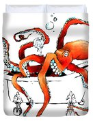 Silly Octopus Taking A Bath Duvet Cover