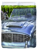 Silver 1963 Austin Healey Roadster 3000 Duvet Cover